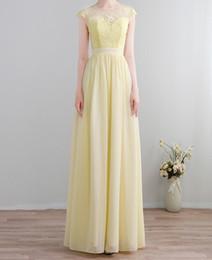 Светло-желтое шифоновое платье онлайн-Светло-желтый шифон платья невесты с кружевом длинный экипаж рукавов молния назад складки шифон длинные платья невесты дешевые