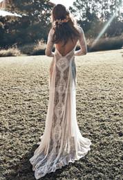 vestidos de novia únicos de invierno Rebajas Desnudo de la manga de encaje sin espalda de la vendimia de Boho de la playa vestidos de novia largo de la guarnición de Campo de Bohemia vestidos de boda del Hippie vestido de la novia gitana
