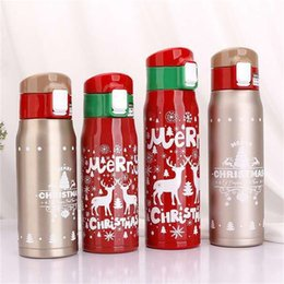 water bottle for kids wholesale Promo Codes - 350 500 Ml Lovely Water Bottles Stainless Steel Kids Outdoors Tumbler For Christmas Party Favor High Quality 17 5txa E1