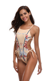 Racerback traje de baño mujer online-Monokini para mujer Traje de baño de una pieza Traje de baño Entrenamiento deportivo Traje de baño Recortar Corbata Racerback lateral Traje de baño