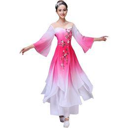 Trajes chineses antigos mulheres on-line-Chinês hanfu mulheres traje de dança popular traje dançarino antigo chinês rosa folk dress rhinstones desgaste do estágio Bordado