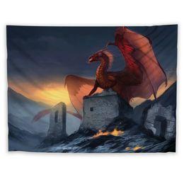 2019 decorazioni di drago rosso Red Dragon Wall Hanging Tapestry Psychedelic Bedroom Decoration decorazioni di drago rosso economici