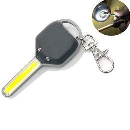 Anneau d'épi en Ligne-lampe de poche anneau mini-clé cob portable créatif torche novely trousseau camping en plein air lampes torche de pêche de nuit de lumière sac à dos