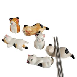 Vaisselle en céramique japonaise en Ligne-3pcs porte-baguettes en céramique support style japonais joli chat conception baguettes rack soin des oreillers reste cuisine Art Craft Vaisselle