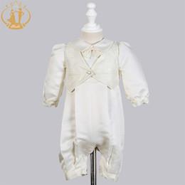 Agile Bébés Garçons Robes De Baptême Satin Occasion formelle Garçons nouveau-nés barboteuse vêtements Ivoire Enfants Baptême Robes ? partir de fabricateur