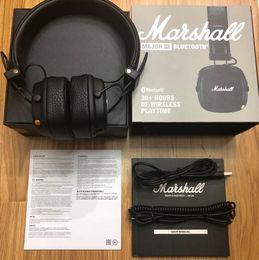 Fone de ouvido foldable dj on-line-Marshall Monitor de Bluetooth Fones De Ouvido Dobráveis com Cancelamento de Ruído de Couro MICROFONE Fixo Grave Fones De Ouvido Estéreo Monitor de DJ Hi-Fi Fone De Ouvido de Telefone