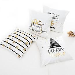 Cuscini in oro blu online-Frigg Buon Natale Cuscino Oro Lino Cotone Morbido Carino Covers Covers Santa Xmas Decorativo Divano Federa Federa D19010902