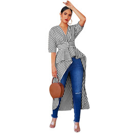 bells clothing Promo Codes - Women Clothing Stripe Shirts Half Sleeve Irregular tops Personality New Fashion Lapel Summer Casual Style European Wind Shirts