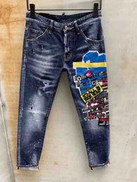 2019 pantalones vaqueros SS19 Skinny Slim Fit Material de revestimiento lavable Denim Elástico Motocicleta Hombres IMG8369 Jeans Diseñador de tinta Splash Hombres Jeans SZ44-54 pantalones vaqueros baratos