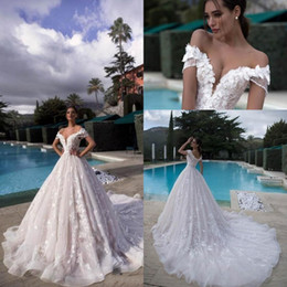 Floral corsets on-line-2019 vestidos de noiva de renda completa fora dos ombros 3d-floral lace apliques vestidos de noiva com espartilho de volta tule longo tribunal treinar