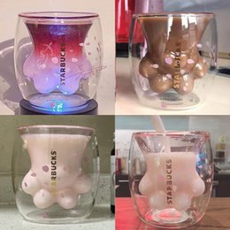 Globos de cristal online-Starbucks 2019 garras de gato rosado taza de vidrio doble gato arco iris globo de aire caliente taza de vidrio transparente doble Drinkware Tumblers decoración regalos