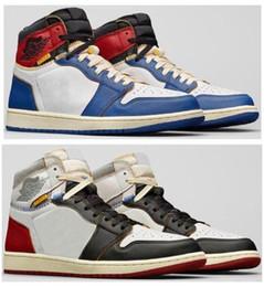 Baloncesto de tormenta online-Alta calidad Union LA x 1 Alto OG NRG Blanco Tormenta Azul Varsity Rojo lobo gris Zapatos de baloncesto de los hombres 1s zapatillas con caja