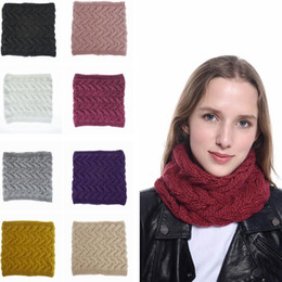 Anéis do pescoço mulheres on-line-Mulheres Malha Anel Cachecol Moda Inverno Quente Solid Color Infinito Círculo Neck Warmer Causal Outdoor Crochet Cachecol TTA1504