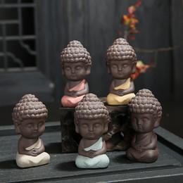 bancos piggy engraçados Desconto Pequeno Buda Estátua Monge Figura India Yoga Mandala Chá Pet Artesanato De Cerâmica Decorativa 4 Estilos Livre DHL 433