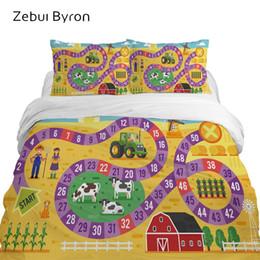 conjuntos de cama completos para meninos Desconto Conjuntos de cama 3D para crianças de luxo, conjunto de cama Queen / King / Twin / Full size, capa de edredão dos desenhos animados para bebê / crianças / meninos, mapa da fazenda