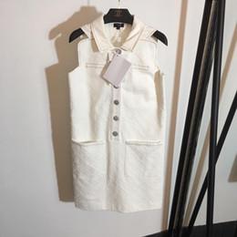 chiffon hochzeitskleid tropfen ärmel Rabatt Freies Verschiffen 2019 Sommer Weiß Brief Knopfdruck Sommer Frauen Kleider Marke Gleiche Art Runway Kleider DH721