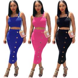 vestido de blusa bodycon Desconto Mulheres Designer 2 Peça Vestidos de Algodão + Saias Outfits Botão Strap Vest + Midi Vestidos Bodycon Sexy Tee Top Colheita 1030