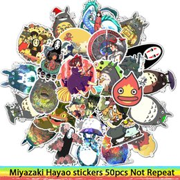 Adesivi totoro online-50 pezzi Adesivi Miyazaki Hayao Anime Sticker My Neighbor Totoro / Spirited Away for Skateboard Laptop Bicicletta Decalcomanie impermeabili