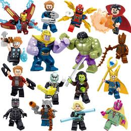 brinquedos do homem-aranha azul Desconto Vingadores 3 Endgame Loki Black Pather Homem De Ferro Tony Stark Hulk Thanos Thor Visão Mini Toy Figura Bloco de Construção Bloco Assebmle