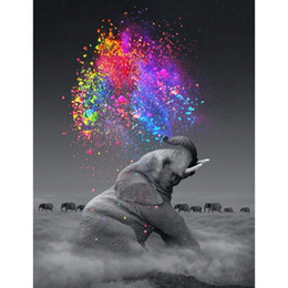 Вышивка слона онлайн-Hot DIY 5D Diamond Painting by Number Kit for Adult Full Drill Diamond Embroidery Dotz Kit Home Wall Decor-30x40cm Elephant