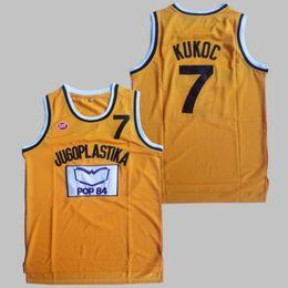 Dividir mochilas esportivas on-line-Homens Moive Toni Kukoc Jersey 7 Basquete Amarelo Jugoplastika Split Pop Jerseys Tudo Costurado Para Os Fãs de Esporte Respirável Frete Grátis