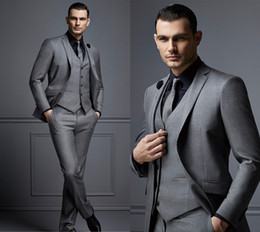best navy blue tuxedo Promo Codes - Fashion Handsome Grey Mens Suit Cheap Groom Suit Formal Man Suits For Best Men Slim Fit Groom Tuxedos For Man(Jacket+Vest+Pants)