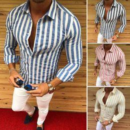 6d26be362 2019 hombres de lujo casual slim fit elegante vestido formal camisas falda  a rayas manga larga Nuevo