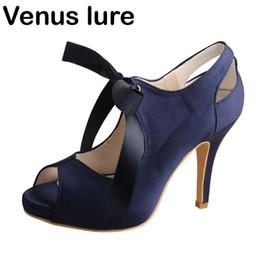 Calcanhar azul marinho on-line-High Heel Prom Shoes casamento dos azuis marinhos Peep Toe Mulheres Evening sapatos de plataforma