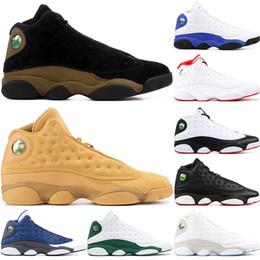 Nike Air Jordan 13 Retro 13s Hommes Chaussures de Basketball Olive Chicago  Hyper Royal Chat Noir Flints Bred Flint Gris Toe Barons Blé DMP hommes  baskets de ... b616b7c9a