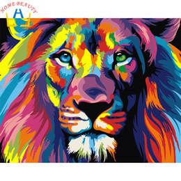 animais cor pintura a óleo Desconto Nova decoração fotos casa sobre tela pintura a óleo diy por números desenhar imagens nodulares um leão parede animais arte cor E564