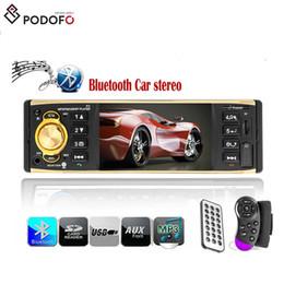 Dvd de controle remoto universal on-line-Podofo 4.1 polegada 1 Din Rádio Do Carro de Áudio Estéreo AUX FM Autoradio Bluetooth Carro Com Controle Remoto Retrovisor