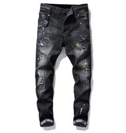 Jeans man 29 tamanho on-line-calças de brim grandes do tamanho 2019 nova primavera calças jeans estilo buracos, pintura luxuosas dos homens denim calças Slim Fit casuais lápis calças jeans frete grátis 1010