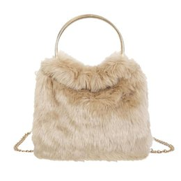 fluffy bags Promo Codes - Fashion Soft Plush Shoulder Handbags Women Fluffy Messenger Bag Travel Tote