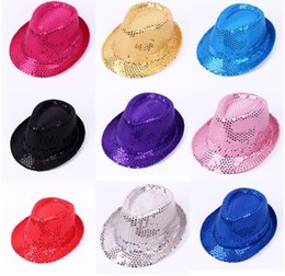 5dc44628eca Sequins hat Adults children Hip-Hop Jazz Cap Hats Dance Club Event Party  Festive Birthday stage perform props hat LJJK1163