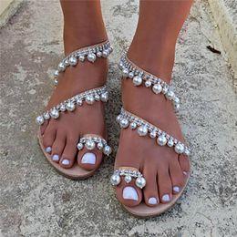 флип-флоп стразы квартиры Скидка  Rhinestone Pearl Slip-On Women Beach Sandals Beading Fringed Summer Lady Flats Shoes Clip-Toe Flip-Flops Rome Shoes #40