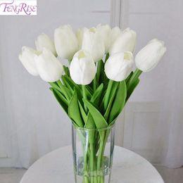 FENGRISE 30 stücke PU Mini Tulpe Real Touch Blumen Künstliche Blume für Party Brautstrauß Hochzeit Dekorative Blumen Kränze C18112601 von Fabrikanten