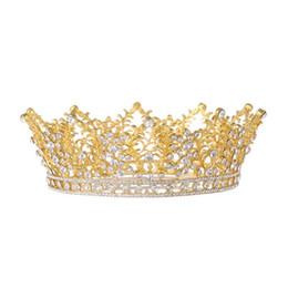 2019 diadema de plástico para niñas grandes accesorios para el cabello Lujo Braidal oro metal Tiara y corona Full Circle Crystal Queen novia de pelo diadema boda de dama de honor accesorio para el cabello