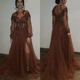 Pure robe brune robe de soirée de nuit manches longues robes de soirée dentelle transparente traversantes robes de bal fendues formelles robes de soirée ? partir de fabricateur