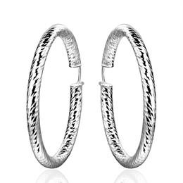 Pendientes de aro únicos para las mujeres online-2019 pendientes elegantes de plata 925 únicos pendientes grandes del círculo mujeres grandes pendientes redondos de plata E592