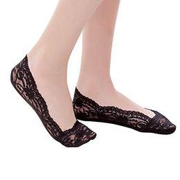 2019 женские невидимые носки 10 pairs Womens Cotton Lace Antiskid Invisible Liner Socks Elastic Comfy Female Summer Spring Ankle Boat Low Cut Short Socks дешево женские невидимые носки