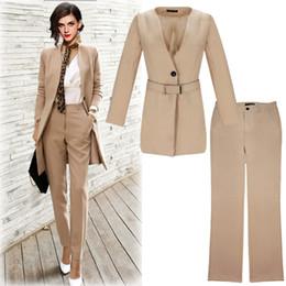 Cinto de macacão on-line-Moda longa seção senhoras terno de emagrecimento desgaste das mulheres de duas peças calças OL macacão terno com cinto