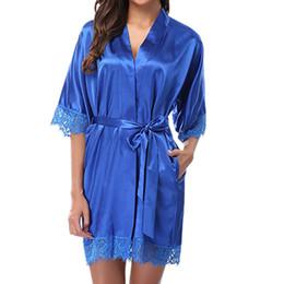 Trajes de noche de raso online-MUQGEW vestido de noche mujeres albornoz mujeres robe femme Señora Sexy Encaje Ropa de Dormir de Satén Ropa de Dormir Ropa Interior Pijamas Traje # Y3