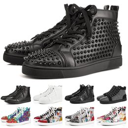 4767adaf ACE Diseñador de Zapatos Casuales Para Hombres Mujeres Tachonadas Spikes  Pisos Zapatillas de deporte Fondo Rojo Amantes del Partido de Cuero Genuino  Boy ...