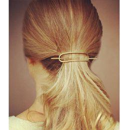 Design da vara do casamento on-line-Geometric Oval Grampos da vara Cabelo Fork Vintage Simples clipes Hair Design Boho Acessórios de cabelo Mulheres Meninas de festa de casamento Beach jóias