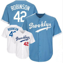Bolas azuis on-line-Jersey de homens feitos sob encomenda do Brooklyn # 42 Jackie Robinson azul cinza branco baseball Jerseys S-XXXL