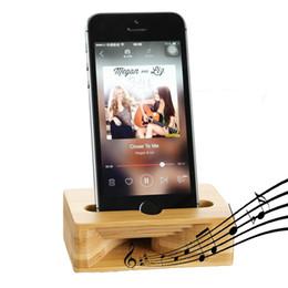 Держатели для телефонов деревянные онлайн-Подставка под телефон с усилителем звука Натуральное бамбуковое дерево Подставка для мобильного телефона для iPhone Samsung Android смартфонов