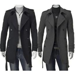 черный кардиган с поясом Скидка Мода зима Мужчины Куртки Черный Серый Поддельный Wool Trench Мужчины Кардиган Бизнес Одежда Slim Fit Belted Длинные пальто Outwear Hombre