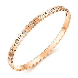 Bracciale in cristallo con numeri romani Ms. hollow gioielli in acciaio al titanio di alta qualità bracciale in oro rosa 3-GH818 da