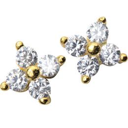 2019 weißgold nummer 925 Authentische 925 Sterling Silber Ohrstecker für Frauen 100% Silber niedlichen Zirkon Blütenblatt Blume Ohrring Liebhaber Geschenke