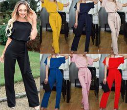 pantalon boutonné Promotion Combinaison manches courtes à manches courtes avec ceinture Summer Fashion, pantalon une pièce Pure Color Street Corner Moist Person pour femme
